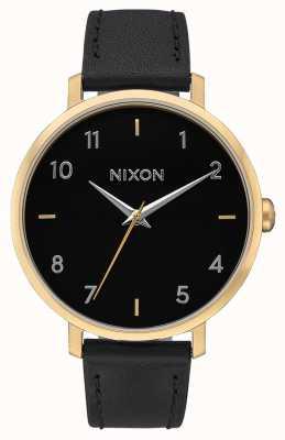 Nixon 箭革 金色/黑色 黑色皮革表带 黑色表盘 A1091-513-00