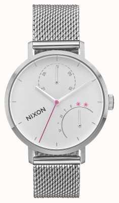 Nixon 离合器全银 不锈钢网 白色表盘 A1166-1920-00