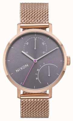 Nixon 离合器全玫瑰金/灰色 玫瑰金ip钢网 灰色表盘 A1166-2618-00