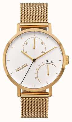 Nixon 离合器全金/白  ip网眼金手链 白色表盘 A1166-504-00