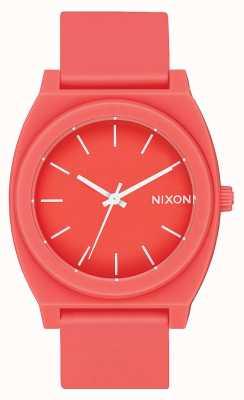 Nixon 时间出纳员p  亚光珊瑚 珊瑚硅胶表带 珊瑚表盘 A119-3013-00