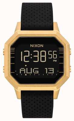 Nixon Siren ss |金色/黑色lh |数码|黑色硅胶表带 A1211-2970-00