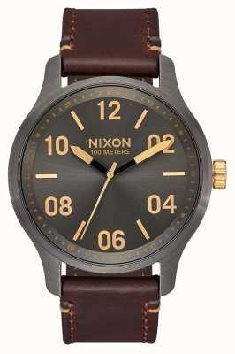 Nixon 巡逻皮革|炮铜色/黄金|棕色皮革表带|炮铜表盘 A1243-595-00