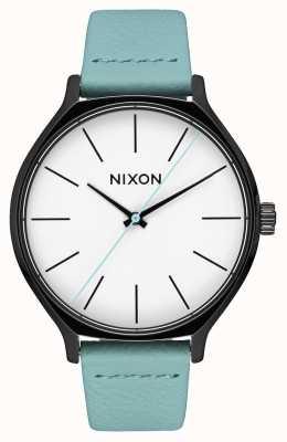 Nixon 皮革黑色/薄荷 薄荷绿色皮革表带 白色表盘 A1250-3317-00
