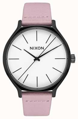 Nixon 皮革黑色/珊瑚 粉色皮革表带 白色表盘 A1250-3318-00