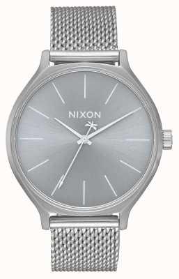 Nixon Clique米兰人 全银 不锈钢网状手链 银色表盘 A1289-1920-00