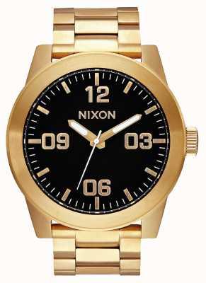 Nixon 下士|全金/黑色|黄金ip钢手链|黑色表盘 A346-510-00