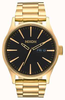 Nixon 哨兵SS |全金/黑色|黄金ip钢手链|黑色表盘 A356-510-00