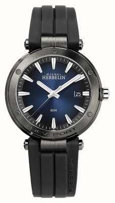 Michel Herbelin 男士纽波特 |黑色橡胶表带|蓝色表盘 12288/G15CA
