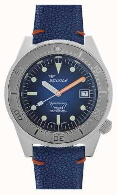 Squale 1521蓝光|蓝色表盘|蓝色皮革表带 1521PROFSS-CIN20RZBL