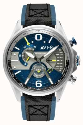AVI-8 小贩计时码表|蓝色表盘|蓝色皮革黑色北约表带 AV-4056-01