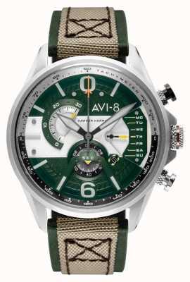 AVI-8 小贩计时码表|绿色表盘|绿色皮革米色北约表带 AV-4056-02