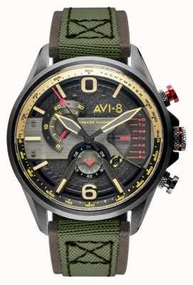 AVI-8 小贩计时码表|灰色表盘|棕色皮革绿色北约表带 AV-4056-03