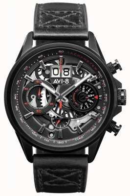 AVI-8 小贩计时码表|黑色皮革表带 AV-4065-05