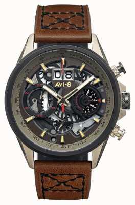 AVI-8 小贩计时码表|棕色皮革表带 AV-4065-06