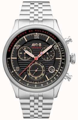 AVI-8 Flyboy拉斐特|计时码表|黑色表盘|不锈钢手链 AV-4076-33
