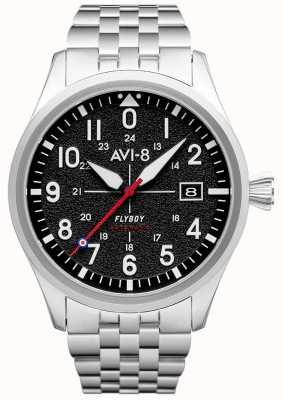 AVI-8 Flyboy  自动 黑色表盘 不锈钢手链 AV-4075-11