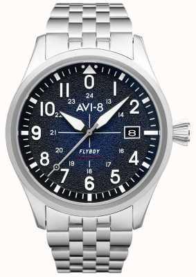 AVI-8 Flyboy |自动|蓝色表盘|不锈钢手链 AV-4075-22