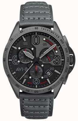 AVI-8 P-51野马|计时码表|灰色表盘|灰色皮革表带 AV-4077-03