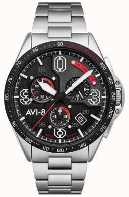 AVI-8 P-51野马|计时码表|黑色表盘|不锈钢手链 AV-4077-11