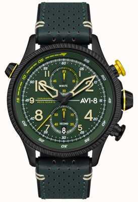 AVI-8 小贩猎人|计时码表|绿色表盘|绿色皮革表带 AV-4080-03