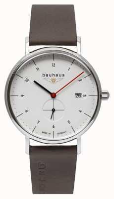 Bauhaus 男士棕色皮革意大利表带|白色表盘 2130-1