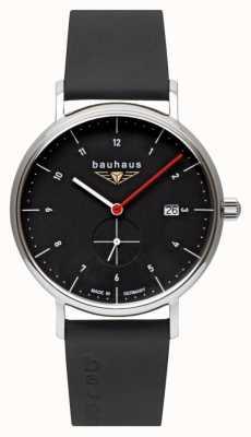 Bauhaus 男士黑色意大利皮表带|黑色表盘 2130-2