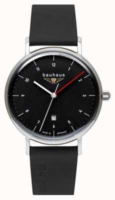 Bauhaus 男士黑色意大利皮表带|黑色表盘 2140-2