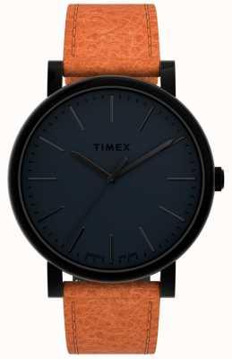 Timex 原件 42 毫米 |黑色表盘|棕褐色皮革表带 TW2U05800
