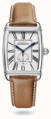 Michel Herbelin 装饰艺术|自动|棕色皮革表带银色表盘 1938/08GO
