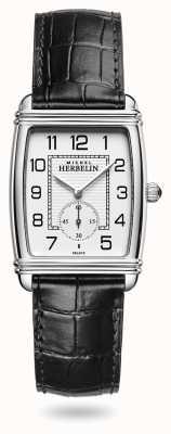 Michel Herbelin 女装装饰艺术|银表盘|黑色皮革表带 10638/22