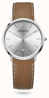 Michel Herbelin 城市|棕色皮革表带|银色表盘 19515/11GO
