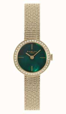 Radley |女装|镀金网眼手链|绿色珍珠贝母表盘| 高分辨率照片| CLIPARTO RY4568