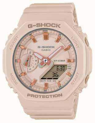 Casio 中型G级休克|浅粉色树脂表带|粉色表盘 GMA-S2100-4AER