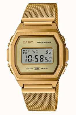 Casio 年份|数码|黄金pvd不锈钢网 A1000MG-9EF