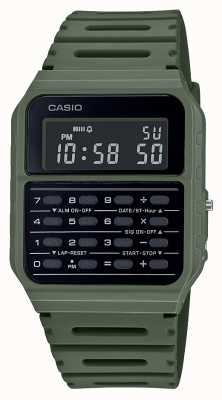Casio 复古计算器手表|绿色树脂表带|黑色表盘 CA-53WF-3BEF