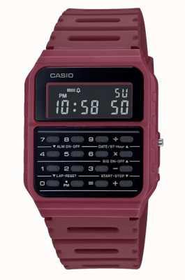 Casio 复古计算器手表|深红色树脂表带|黑色表盘 CA-53WF-4BEF