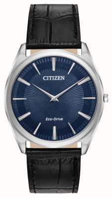 Citizen 细高跟鞋男士环保驱动器|黑色皮革表带|蓝色表盘 AR3070-04L
