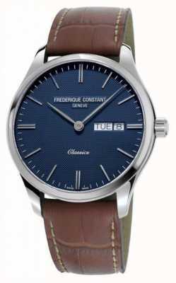 Frederique Constant 男士经典石英|棕色皮革表带|蓝色表盘 FC-225NT5B6