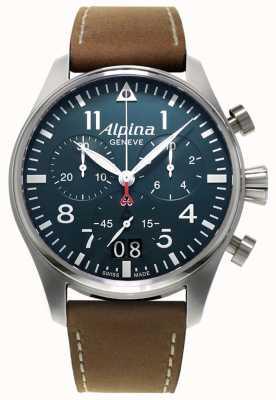 Alpina 男士smartimer飞行员计时码表|棕色皮革表带|蓝色表盘 AL-372N4S6