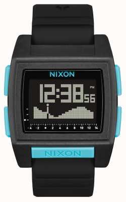 Nixon 基潮亲 全黑/蓝 数字 黑色硅胶表带 A1307-602