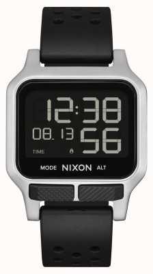 Nixon 热  黑色穿孔橡胶表带 A1320-008