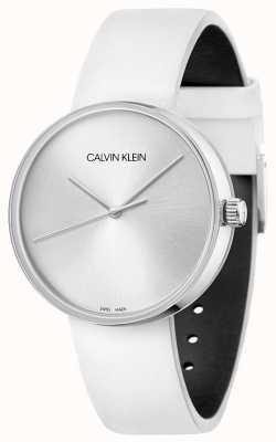 Calvin Klein 妇女的白色皮革表带|银色表盘 KBL231L6