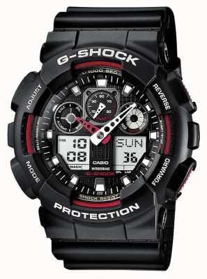 Casio G-shock计时码表红黑色报警 GA-100-1A4ER
