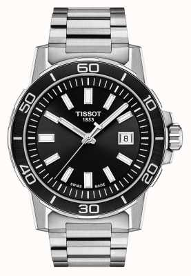 Tissot 超级运动黑色表盘|不锈钢手链 T1256101105100