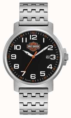 Harley Davidson 男士不锈钢手链|黑色易读表盘 76B187
