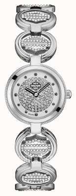 Harley Davidson 女士水晶镶硬币链接手链|水晶表盘 76L179