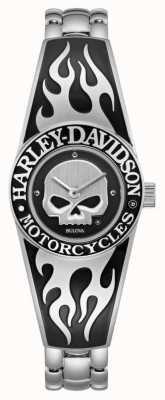 Harley Davidson 女士火焰状Willie G骷髅表盘|不锈钢手镯 76L190