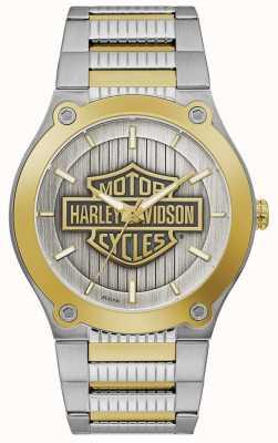 Harley Davidson 男士两音钢手链|银色表盘 78A125