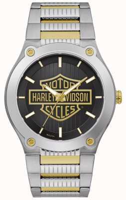 Harley Davidson 男士两音钢手链|黑色表盘 78A126